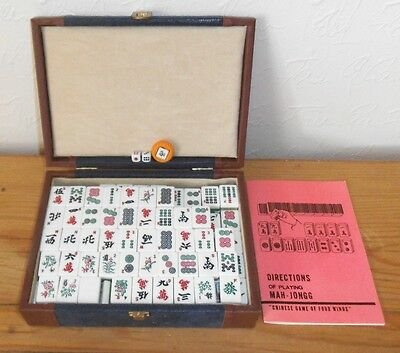 Suberb Mah-jongg Set in leather travel case and instructions VGC