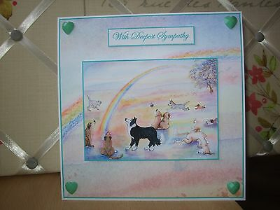 Handmade Dog Sympathy Card Rainbow Bridge Border Collie All Breeds Poem Green