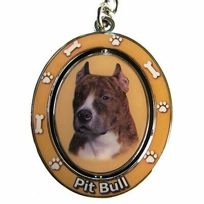 "PIT BULL [Brindle & White]  ""Spinning"" Key Chain"
