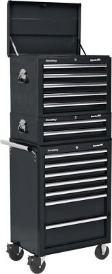Sealey 14 Drawer Topchest Rollcab Mid-Box Tool Storage Cabinet Combination Black