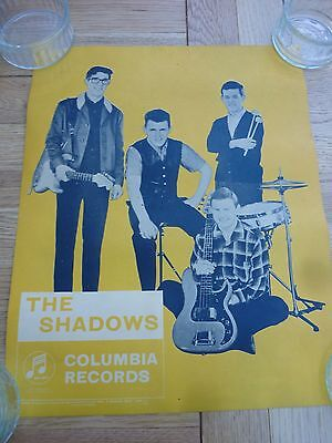 1962 Original Colour Promotional Poster The Shadows Columbia 15 X 12 Inch