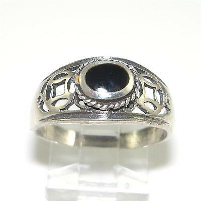 Sterling Silver Black Onyx Ring Size 8.5