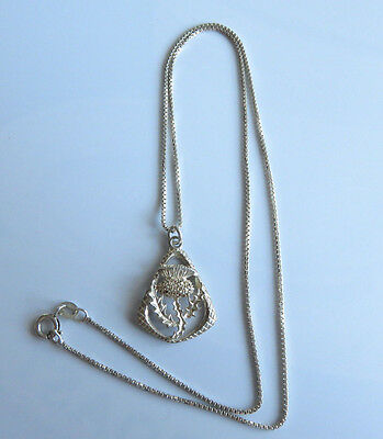 Vintage Sterling Silver Scottish Celtic Thistle Pendant Necklace