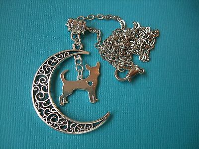 Chihuahua Dog in Moon Necklace & Pendant Dog Metal Alloy Chain Puppy Silver Tone