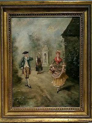Antique Oil on Wood Panel Aristocratic 18th C Painting, Signed