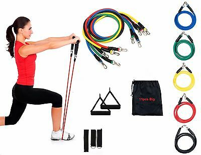 Resistance Bands SET11 PC Set & Tubes Gym Exercise Stretch Yoga Pilates Workout
