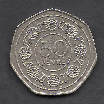 1989 Gibraltar 50p - Candy Tuff Flower - Fifty Pence Coin - Rare