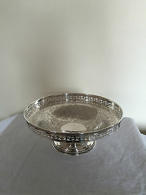 "LOVELY SILVER PLATED PIERCED FOOTED FRUIT BOWL 8.25"" Diameter  (Ref SP 090)"