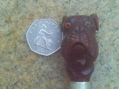 Antique Walking or Swagger Stick with Carved Wooden Bulldog. Silver Mounted.