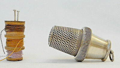 Antique Silver Plated Chatelaine Thimble, Needle And Theards Case-1900