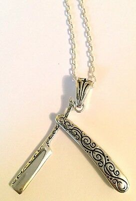 1940s 50s Cut Throat Barber Tattoo Rockabilly Punk Pendant With Chain Vintage