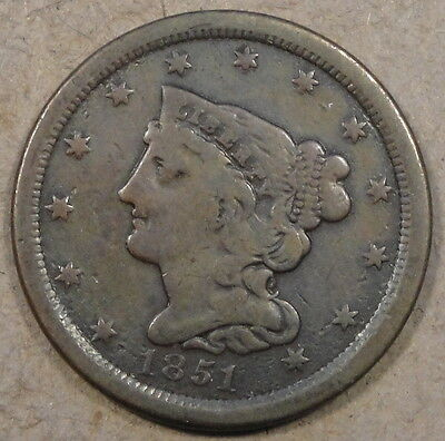 1851 Braided Hair Half Cent Decent Low-Midgrade Coin
