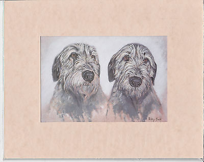 "8"" X 10"" MOUNTED OIL PAINTING PRINT of IRISH WOLFHOUND  HEADS  DOG"