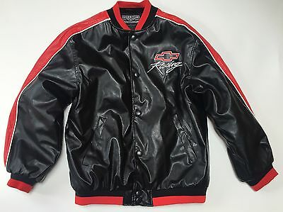 Steve & Barry's Chevrolet Chevy Racing Faux Leather Jacket sz Youth XL 16