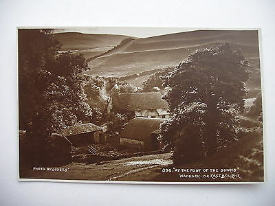 """"""" At the Foot of the Downs """",Wannock, near Eastbourne - vintage sepia real photo"""