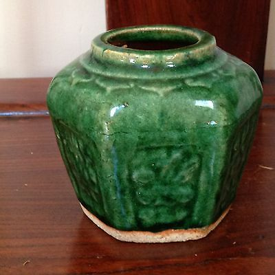 Antique Chinese Green Glaze Pottery Hexagon Shaped Ginger Jar Vase