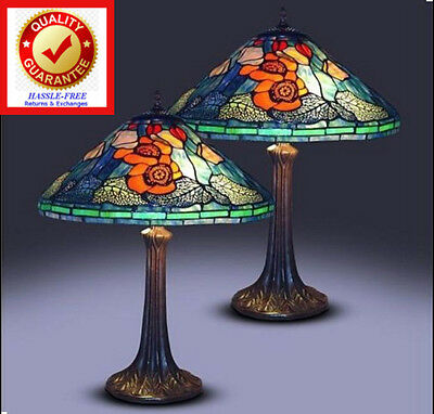 Tiffany Style Golden Poppy Table Lamps (Set Of 2) 16in Handcrafted Stained Glass