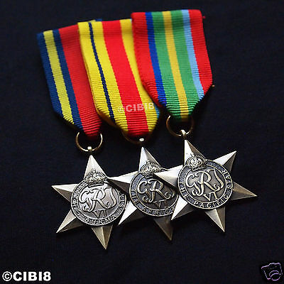 Africa Star + Burma Star + Pacific Star Exotic Military Medal Group Set Repro