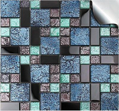 Black Mosaic Tile Stickers Transfers Kitchen Bathroom Marble Stone Effect