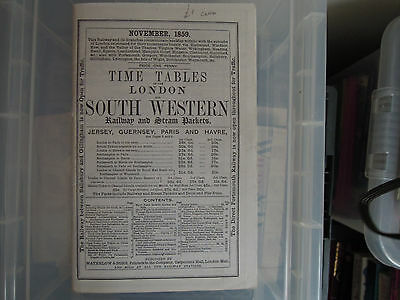London and South Western Railway timetable Nov 1859 REPRINT