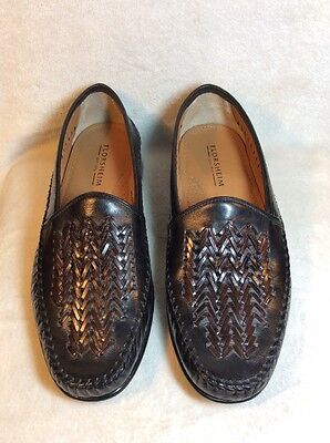 Florsheim Black W/Brown Woven Leather Slip-On Loafers - Men's Size 10 EEE
