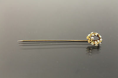 14kt Yellow Gold Stick Pin with Wreath and White Pearl