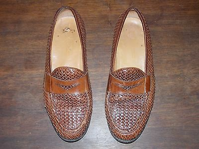 Peter Huber Woven Leather Loafers Shoes Size 8 1/2 Handmade Spain 8314