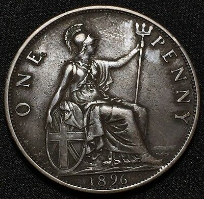 1896 UK Great Britain One Penny Old Victoria Coin! Amazing Details!!! See Pics!!