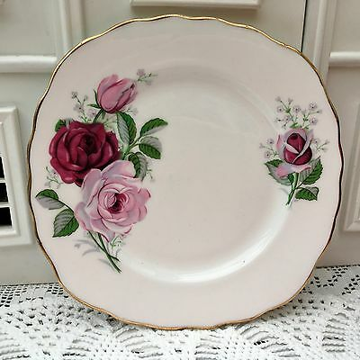 ROYAL VALE ENGLAND 1950sBONE CHINA TEA PLATE - FLORAL PINK ROSES PAINTERLY STYLE