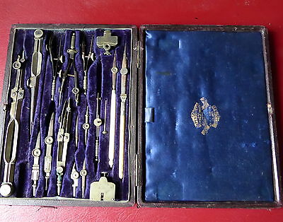 Vintage A.g. Thornton Ltd. Drawing Instrument Set In Leather Coated Box.