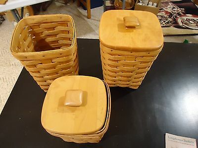Longaberger 2 Medium Spoon Baskets & Small Spoon 1 Has Lid & Protector