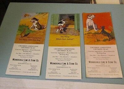 1940's Wernersville PA Lime & Stone Iang Campbell Dogs 3 Advertising Blotter Lot