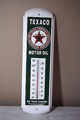 Texaco Motor Oil Metal Advertising Thermometer - 17.25 inches tall!!