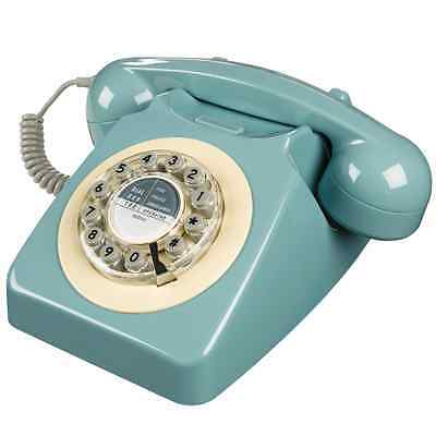 Wild and Wolf 746 Push Button Retro French Blue Telephone