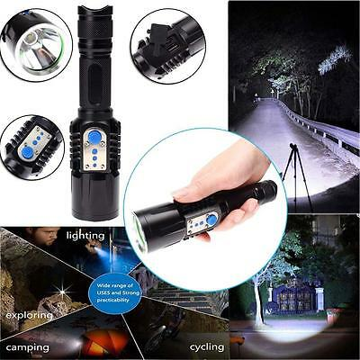 8000 Lumens USB Charge Décharge CREE T6 LED Flashlight Chasse Lampe torche NI DC