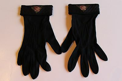 Vintage Black Cloth Ladies Gloves With Embroidered Rose