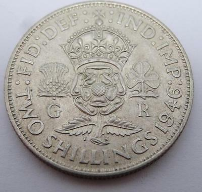 ***1946 .500  Silver Two Shillings George Vi Coin (328)***