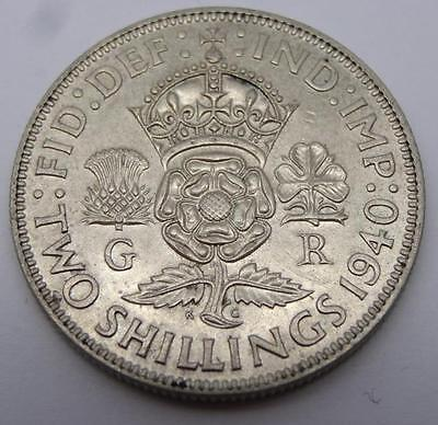 ***1940 .500 Silver Two Shillings George Vi Coin (329)***