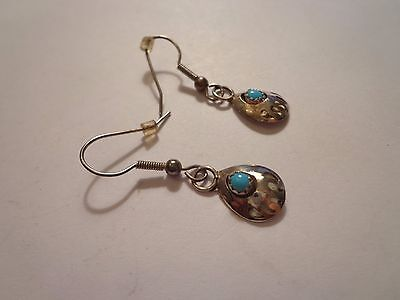 Vintage Native American Indian Zuni Turquoise Sterling Earrings Bear Claw