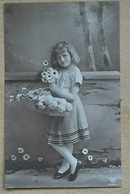 """Postcard - Vintage cute child with flowers, """"A basket of blossoms"""", RP?"""