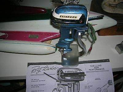 Toy Outboard Motor 1956 Evinrude K&o Toy Wood Boat  Ito Vintage Battery Operated