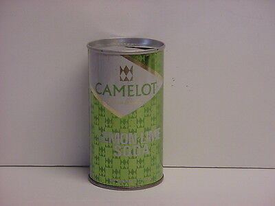 Vintage Camelot Lemon Lime Straight Steel Pull Tab Top Opened Soda Can