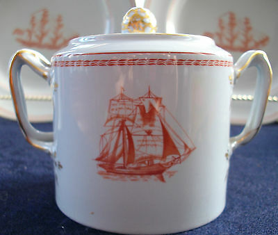 SPODE TRADE WINDS RED (c.1960's)  COVERED SUGAR BOWL-EXCELLENT!! GILT!! SWEET!!