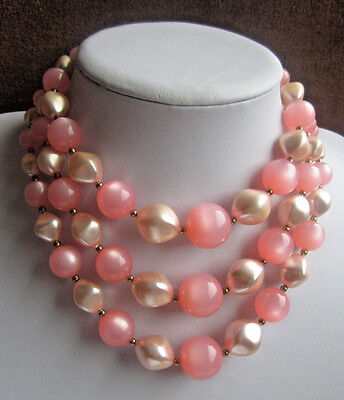 Vintage PINK MOONGLOW LUCITE FAUX PEARL TRIPLE STRAND NECKLACE Valentine Choker