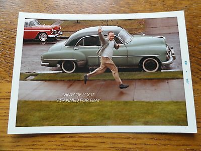 Vtg '63 Color Photograph MAN Mid Air WAVE in Front Center of 40s 50s CHEVROLET