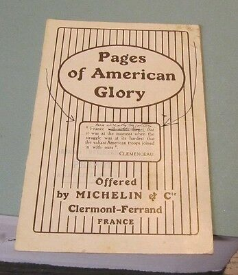 1919 Pages of American Glory Michelin Tires French Tribute WWI Battles Map Photo