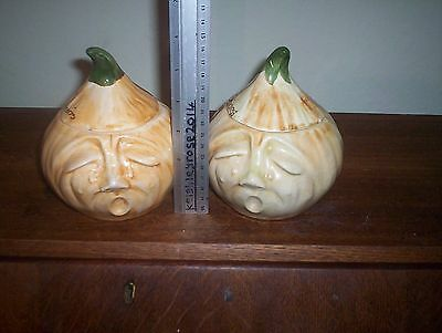 Two Vintage Raymond Pickled Onion Pots + Orig  Tops  NOT IDENTICAL Plz C Pics