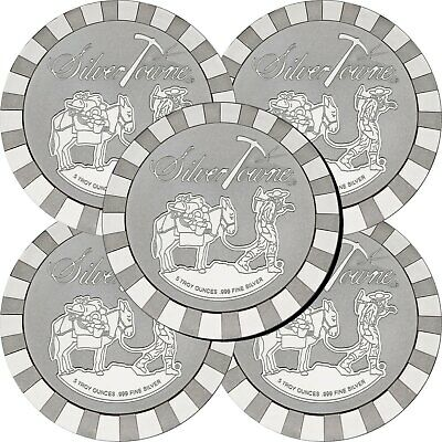 SilverTowne Stackables Trademark Prospector 5oz .999 Silver Medallion 5pc