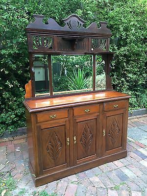 Antique Carved Sideboard/Buffet/Cabinet/Dresser with Mirrored Detachable Back