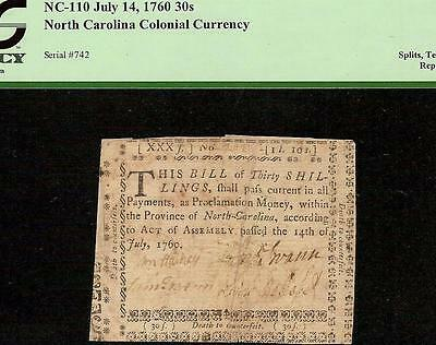 July 14, 1760 North Carolina Colonial Currency Note Old Paper Money Pcgs 20